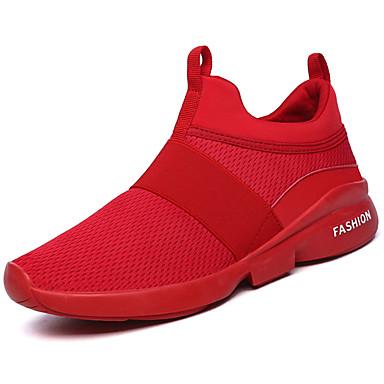 Homens sapatos Tule Primavera Outono Conforto Tênis Caminhada Elástico para Casual Branco Preto Vermelho