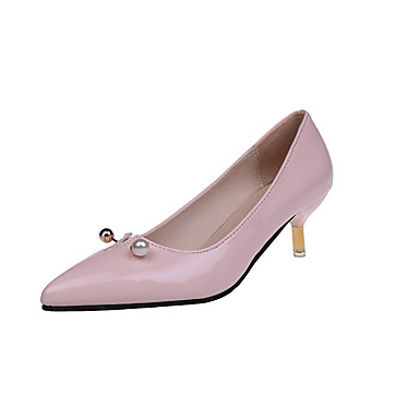 Women's Shoes PU Fall Comfort Formal Shoes Heels Walking Shoes Stiletto Heel Pointed Toe Pearl for Dress Party & Evening White Black Pink