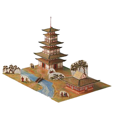 3D Puzzles Paper Model Paper Craft Model Building Kit Famous buildings Architecture DIY Hard Card Paper Classic Chinese Style Kid's Boys'
