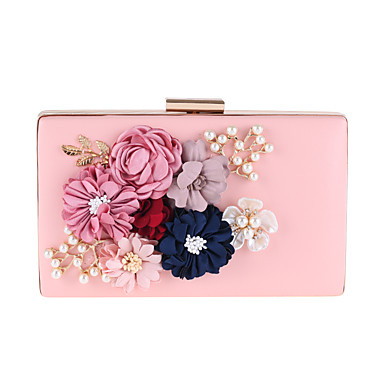 Women's Bags PU Evening Bag Appliques Pearl Detailing Flower for Event / Party All Seasons White Blushing Pink