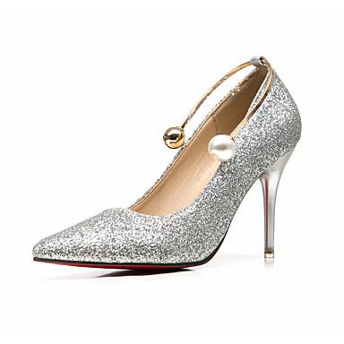 Dame Sko Glitter Vår Høst formell Sko Høye hæler Stiletthæl Spisstå Perle til Bryllup Fest/aften Formell Gull Sølv Rød