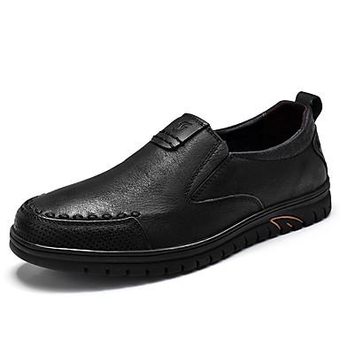 Herre sko Lær Nappa Lær Vår Høst Komfort En pedal Kombinasjon til Avslappet utendørs Fest / aften Svart Mørkebrun Kakifarget