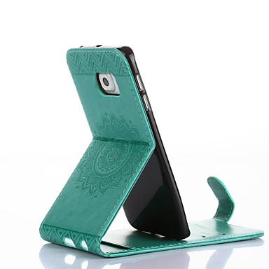 Capinha Para Samsung Galaxy Porta-Cartão Com Suporte Flip Com Relevo Capa Proteção Completa Côr Sólida Flor Rígida PU Leather para S6