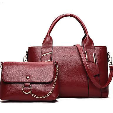 Mulheres Bolsas PU Conjuntos de saco 2 Pcs Purse Set Preto / Vermelho / Cinzento / Conjuntos de sacolas