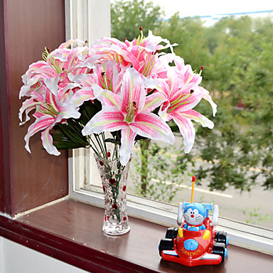 1 Branch Plastic Lilies Tabletop Flower Artificial Flowers