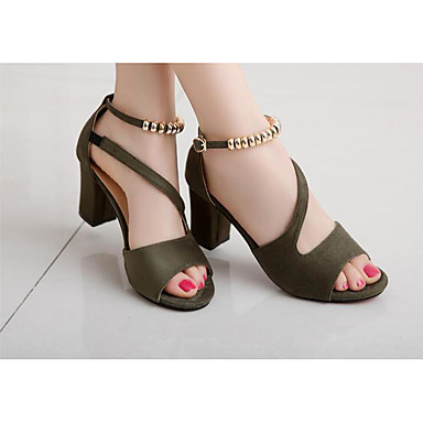 28e28a7a4fb0 Women s Leatherette Summer Basic Pump Heels Open Toe Beading Gray   Green    Pink   EU39