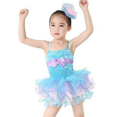 Dansetøj til børn Kjoler Børne Ydeevne Spandex Polyester Palliet-belagt Tyl Flæser Sløjfe(r) Niveauer 2 Dele Ærmeløs NaturligKjole