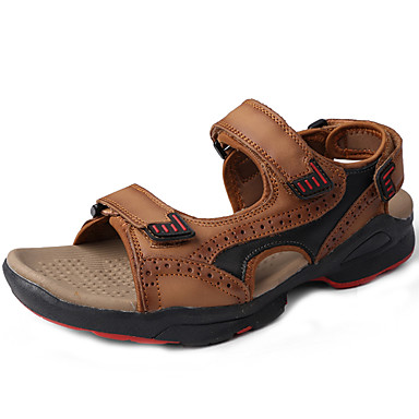 Unisex Sandals Comfort Spring Summer Nappa Leather Water Shoes Dress Outdoor Light Brown 1in-1 3/4in