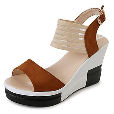 Mulheres Sapatos Tecido Camurça Verão Plataforma Básica Sandálias Caminhada Salto Plataforma Ponta Redonda Presilha para Casual Social
