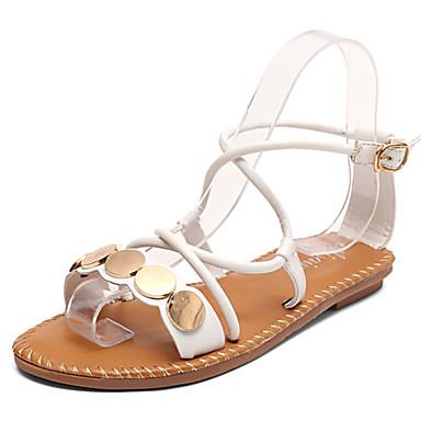 Mulheres Sapatos Borracha Verão Conforto Sandálias Caminhada Sem Salto Presilha Branco / Preto / Amarelo
