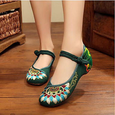 Women's Shoes Fabric Flats For Black Red Green