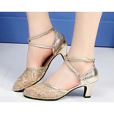 Damen Spitze Schuhe für modern Dance Flach, Ballerina / Absätze Gold / Schwarz / Silber / Praxis / EU37