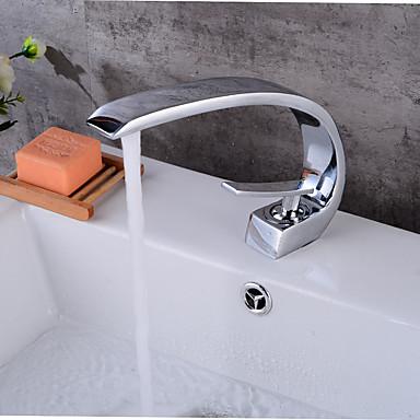 Contemporary Centerset Widespread Ceramic Valve Single Handle One Hole Chrome, Bathroom Sink Faucet