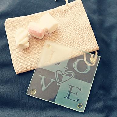 1pcs / bag - coaster de vidro de amor em saco de serapilheira festa de casamento favor beter gifts® estilo de vida