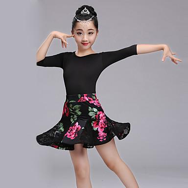 Dança Latina Roupa Espetáculo Elastano Renda Fibra de Leite Estampa Recortes Meia Manga Alto Saias Collant / Pijama Macacão Decoração de
