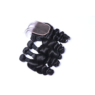 Brazilian Hair Loose Wave Natural Color Hair Weaves 4 Bundles Human Hair Weaves Natural Black Human Hair Extensions