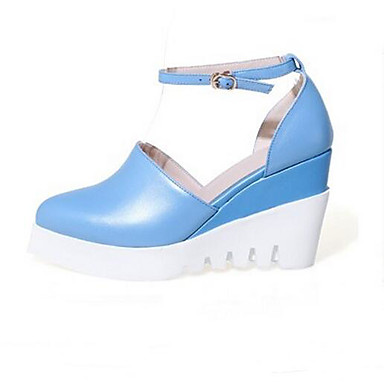 Naiset Kengät PU Kevät Kesä Comfort Sandaalit Käyttötarkoitus Kausaliteetti Valkoinen Sininen Pinkki