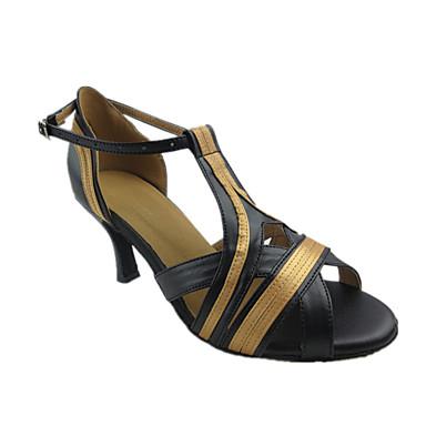 Mulheres Sapatos de Dança Latina Couro Sintético Sandália Recortes Salto Agulha Personalizável Sapatos de Dança Preto e Dourado