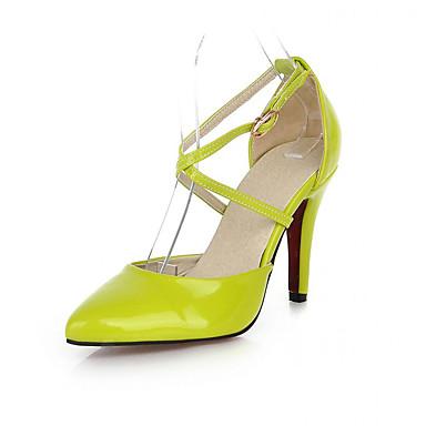 Mulheres Sapatos Couro Envernizado Primavera Outono Conforto Inovador Saltos Caminhada Salto Agulha Dedo Apontado Presilha para Casual