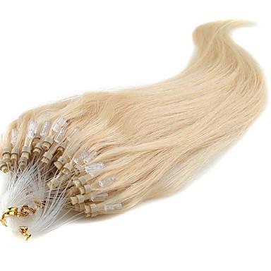voordelige Extensions van echt haar-Febay Microring haarextension Extensions van echt haar Recht Onbehandeld haar Extentions van mensenhaar Braziliaans haar Dames Blonde