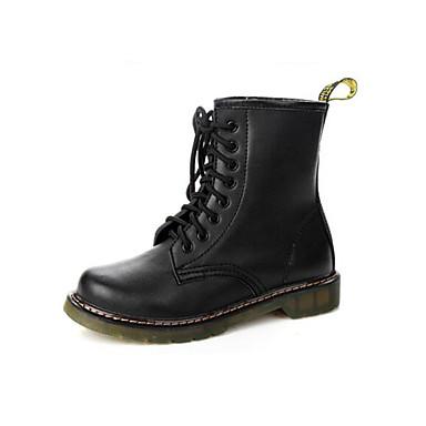 Dame Sko Egte Lær PU Høst Vinter Komfort Trendy støvler Støvler Til Avslappet Svart Burgunder