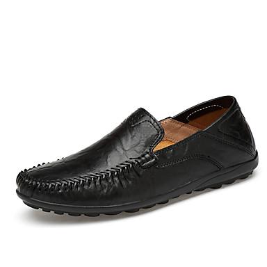 Homens sapatos Couro Verão Outono Solados com Luzes Conforto Mocassins e Slip-Ons para Casual Escritório e Carreira Preto Marron Khaki