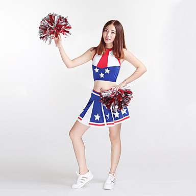 Cheerleader Costumes Outfits Women's Performance Polyester Pattern/Print 2 Pieces Sleeveless High Skirts Tops