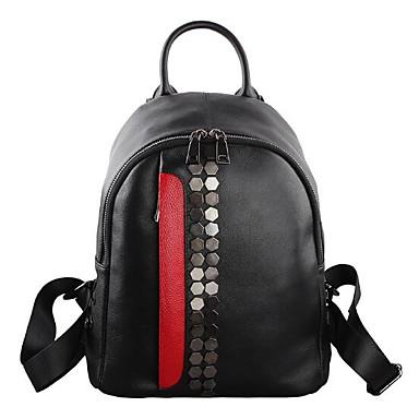 Women Bags All Seasons Cowhide Backpack for Casual Black