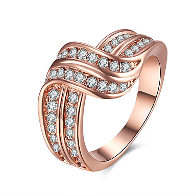 Women's Ring Cubic Zirconia Rose Gold Crystal Tin Alloy Rose Gold Plated Alloy Round Geometric Irregular Personalized Luxury Geometric