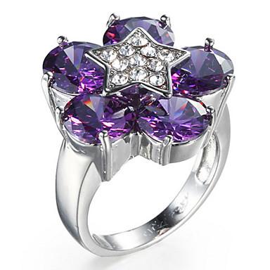 Women's Ring Settings Ring Band Ring Cubic Zirconia Personalized Floral Luxury Geometric Unique Design Classic Rhinestone Basic British