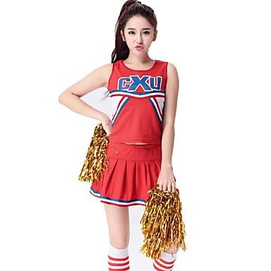 Cheerleader-asut Asusteet Naisten Suoritus Polyesteri Liitos Väriblokki 2 osainen Hihaton Korkea Hameet Topit