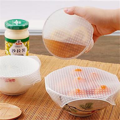 halpa Keittiö ja ruokailu-4kpl monitoiminen ruoka tuore pitäminen saran wrap keittiökaluja uudelleenkäytettävä silikoni ruoka sulje tiiviste tyhjiöpannun kansi venyttää