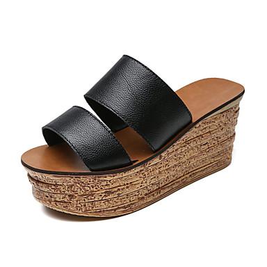 Mulheres Sapatos Couro Ecológico Primavera Verão Clássico Conforto Fashion Sandálias Sem Salto Dedo Aberto para Diário Social Para Noite