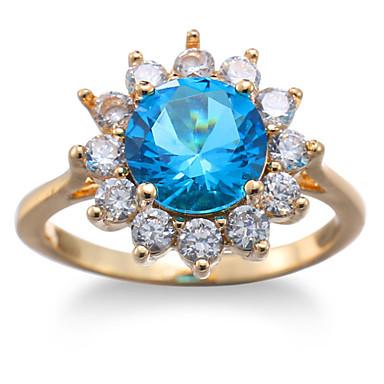 Dame Steninnfatninger Ring Band Ring Kubisk Zirkonium Rhinstein Personalisert Blomster Luksus Geometrisk Rundt design Unikt design