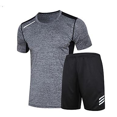 Herre T-skjorte og shorts til jogging Kortermet Fort Tørring Løp Klessett til Løper Trening & Fitness Svart+Grå