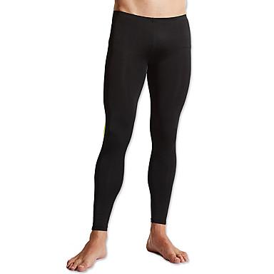 Homens Calças de Corrida Secagem Rápida Respirável Confortável Meia-calça Calças Exercício e Atividade Física Corrida Poliéster Preto
