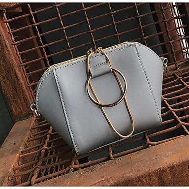 Women Shoulder Bag PU All Seasons Casual Outdoor Round Zipper Green Black Gray