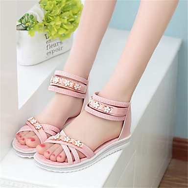 Women's Sandals Comfort Spring PU Casual Blushing Pink Light Blue Flat