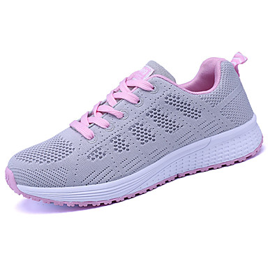 Women's Shoes Tulle Spring Fall Light Soles Athletic Shoes Running Shoes Flat Heel Round Toe Lace-up For Casual White Black Navy Blue
