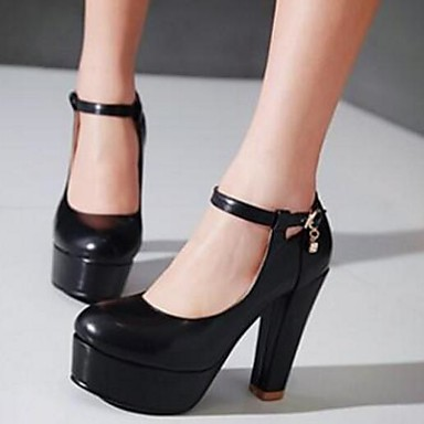 Damen Schuhe PU Nubukleder Herbst Komfort High Heels Für Normal Weiß Schwarz Mandelfarben