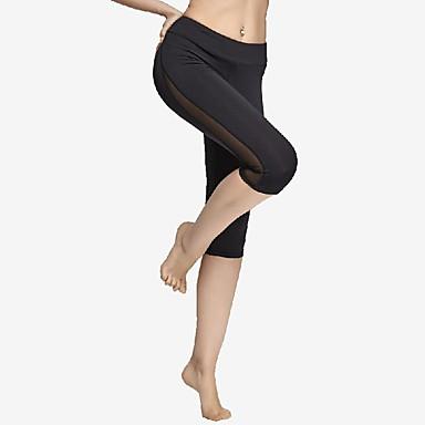 Mulheres Calças de Corrida Secagem Rápida Esticar Ioga Exercício e Atividade Física Corrida Grade Preto S M L XL