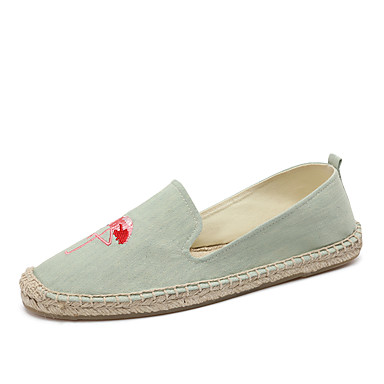 Mulheres Sapatos Jeans / Linho / Algodão Verão / Outono Solados com Luzes / Alpargata / Mocassim Mocassins e Slip-Ons Sem Salto Ponta