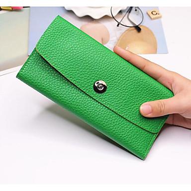 Women Checkbook Wallet PU All Seasons Casual Rectangle Button Chocolate Ruby Green