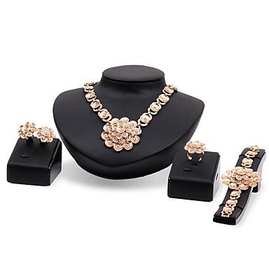Mulheres Gema Strass Chapeado Dourado Luxo Conjunto de jóias - Personalizada Luxo Vintage Importante Euramerican Fashion Outros Flor