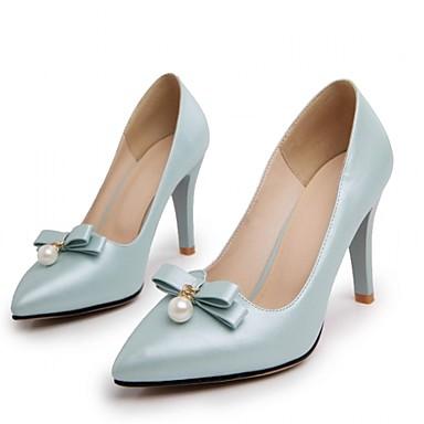 Mulheres Sapatos Couro Ecológico Primavera / Outono Conforto / Inovador Saltos Caminhada Salto Agulha Dedo Apontado Laço Branco / Rosa