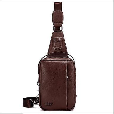 Men's Bags PU Sling Shoulder Bag for Outdoor Black / Brown