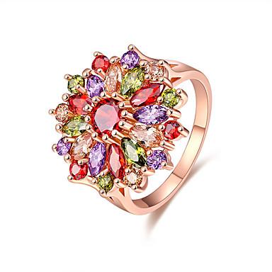 Mulheres Zircônia cúbica Rosa ouro Zircônia Cubica Anel - Flor Elegant Estilo bonito Fashion Cores Sortidas Anel Para Casamento