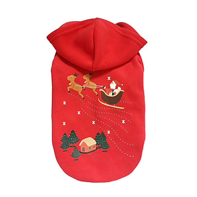 Dog Hoodie Dog Clothes Christmas Christmas Reindeer Red Costume For Pets