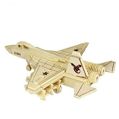 3D Puzzles Jigsaw Puzzle Wood Model Model Building Kit Plane / Aircraft Fighter Aircraft 3D Simulation DIY Wood Natural Wood Classic Kid's