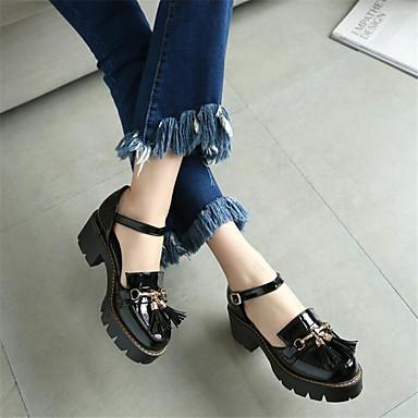 Naiset Kengät PU Kevät Comfort Sandaalit Leveä korko Käyttötarkoitus Kausaliteetti Valkoinen Musta
